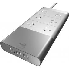 Aerocool ASA Aluminium Powerboard 6 Outlet Surge Protector and 6 USB Port Fast Charger ACAS-RA6A6U2-31