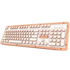AZIO MK RETRO CLASSIC Vintage Typewriter Backlit Mechanical Keyboard in Copper Alloy Trim and White MK-RETRO-L-02-US