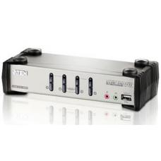 Aten 4 Port USB KVMP Switch with audio and OSD / USB 2.0 Hub - Cables Included CS1734B-AT-U