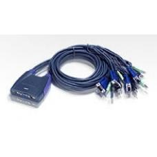 Aten Petite 4 Port USB VGA KVM Switch with Audio - 0.9m Cables Built In CS64US-AT