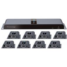 Lenkeng 8 ports HDMI splitter over cat6 1080p up to 40m with IR. With 8 receivers LKV718PRO