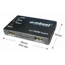 mbeat Mini 4 Port HDMI Switch with Power and Remote HDMI-SW41S