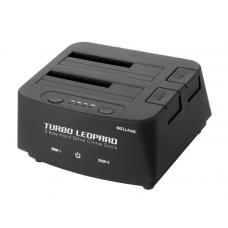 "Welland Turbo Leopard ME-603E 2.5"" + 3.5"" SATA to USB 3.0 DUAL BAY HDD Docking Enclosure - Black ME-603E"