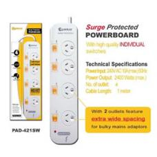 4-Way Power Board (421SW) with Individual Switches and Surge Protection PAD-421SW