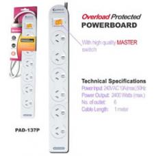 6-Way Power Board (137P) with Master Switch PAD-137P