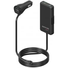 Promate 'CarHub-4' 7.2A Car Charger with 2 USB ports/2 Port Extended USB Charging Hub, BLACK CARHUB-4.BLACK
