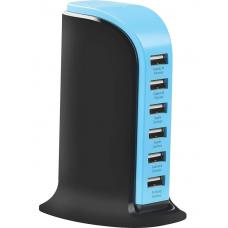 Promate 'powerBase' 8,000mA Ultra-Fast AC Charging Station w/6 USB Ports for Home & Office - Black POWERBASE.BLACK