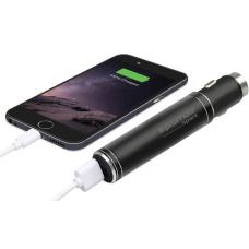 Promate 'Spark' Ultra-Portable Aluminium Car Charger with 2800mAh Power Bank/0.8A output, BLAC SPARK.BLACK
