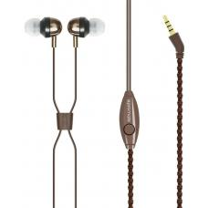 Promate 'Retro' Unit-tangling Fabric Covered Bracelet Style Stereo Headset With Inline Mic & Volume RETRO.BROWN