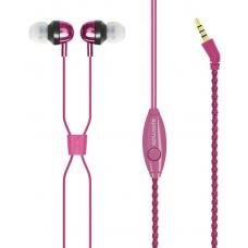 Promate 'Retro' Unit-tangling Fabric Covered Bracelet Style Stereo Headset With Inline Mic & Volume RETRO.Pink
