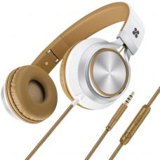 Promate 'Spectrum' Universal Over-Ear Wired Headset with soft headband cushion, Metal headband-Brown SPECTRUM.BROWN