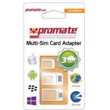 Promate 'uniSIM' 3-in-1 Micro, Nano SIM Card Adapter with iPhone Sim Removal Tool - White UNISIM