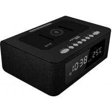 Promate Timebase2 10W Stereo Wireless Spk and Charging Station w/ LED Alarm Clock, FM Radio TIMEBASE2-BLACK
