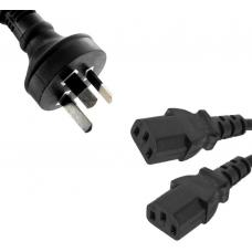 Power Cable from 3-Pin AU Male to 2 IEC C13 Female plug in 1m RC-3085AU-010