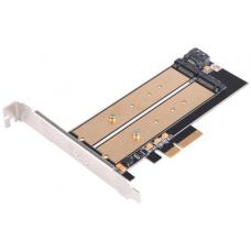 SilverStone ECM22 Dual M.2 to PCIe NVMe/SATA Adapter Card