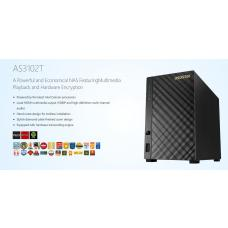 Asustor 2-Bay NAS V1, HDMI, Intel Celeron Dual-Core, 2 GB SO-DIMM DDR3L, GbE x1, USB 3.0, WoL, System Sleep Mode BA-AS3102T-V1(LS) AS3102T