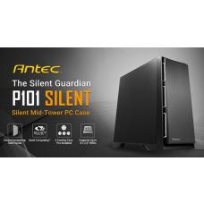 Antec P101 Silent ATX, E-ATX Case, 1x 5.25'Ext, 2x 2.5' SSD, 8x 3.5' HDD. VGA up to 450mm, CPU Height 180mm. PSU 290mm. Two Years Warranty P101-SILENT