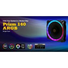 Antec Prizm 140 ARGB Dual-Ring Hydraulic Bearing, 18 Independent LED Beads, PWM Fan. 2 Years Warranty Prizm 140 ARGB