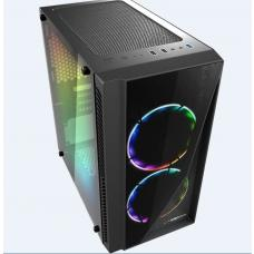 Casecom Gamming XM-91 Front & Side Transparent Temper glass Micro ATX with no PSU-has 2x 12CM 18 LED fans 6 colours Single ring, 0.5SPCC XM-91