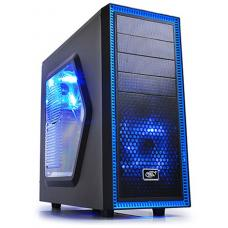 Deepcool Tesseract SW Mid Tower Case Side Window Includes 2 Blue 120mm LED Fans, Black Case DP-CCATX-TSRBKBL