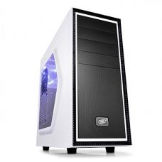 Deepcool Tesseract SW Mid Tower Case Side Window Includes 1 Blue 120mm LED Fan, White DP-ATX-TSRSWWH