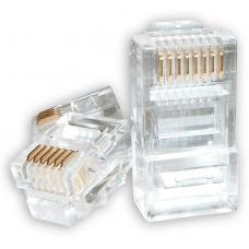 Astrotek RJ45 Connector Modular Plug Crimp 8P8C CAT5e LAN Network Ethernet Head 2 Prong Blade 3u' Transparent (20/pack) ~CBATP-8P8C-5E-2 AT-RJ45PLUG-5E