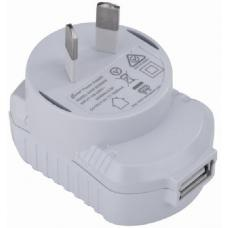 Astrotek USB Travel Wall Charger Power Adapter AU Plug 1A 220V 1 Port White Colour for Samsung & USB Devices AT-USB-PWR