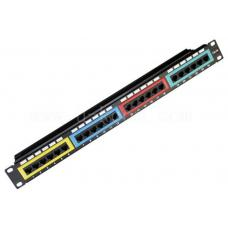 Astrotek CAT6 UTP Patch Panel 24 Port PCB Type 110 IDC Type with Color Frame in Front & Cable Management 3U' Gold Plated RoHS Black ATP-PP-U6-24/C