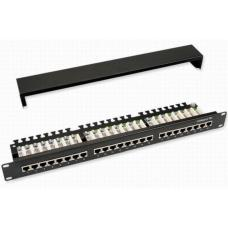 Astrotek 24 Ports UTP Patch Panel CAT5e RJ45 for 19' 1RU Rack Mount Data Network Cabinet Server PCB Type 110/Krone 3U' Black with paper windows LS  ATP-PPU5E-24