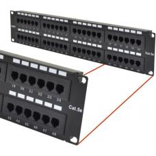 Astrotek 48 Ports UTP Patch Panel CAT5e RJ45 for 19' 2RU Rack Mount Data Network Cabinet Server PCB Type 110/Krone 3U' Black LS ATP-PPU5E-48