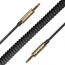 Promate 'linkMate-A3' Premium Coiled TPU coated abrasion resistant 3.5mm Audio cable, 2.5m, BLACK LINKMATE-A3.BLACK