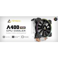 Antec A400 RGB CPU Air Cooler, Direct Heat-Pipies, Silent RGB PWM Fan, Broad Socket Support, Thermal Paste included. MTBF 50k Hrs, 3 Years Warranty A400 RGB