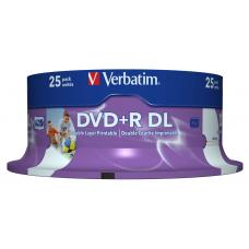 Verbatim DVD+R DL 8.5GB 25Pk White Wide Inkjet 8x 43667