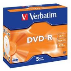 Verbatim DVD-R 4.7GB 5Pk Jewel Case 16x 95070