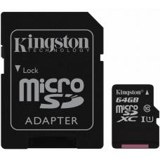 Kingston 64GB MicroSD SDHC SDXC Class10 UHS-I Memory Card 45MB/s Read 10MB/s Write with standard SD adaptor SDC10G2/64GBFR
