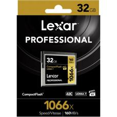 Lexar Professional 1066x 32GB Compact Flash Card - Up to 160Mbs Read/155Mbs Write/Compact Flash/High Quality 1080p full-HD/3D/4K(LS) LCF32GCRBAP1066
