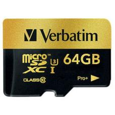 Verbatim Pro+ 4k Micro SDHC 64GB (Class 10 UHS-I) with Adaptor 44034