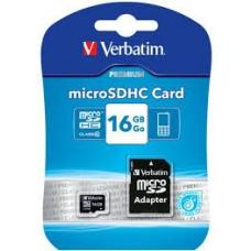 Verbatim Micro SDHC 16GB (Class 10) with Adaptor Up to 45MB/Sec 300X read speed 44082
