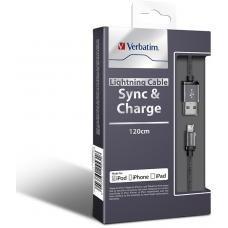 Verbatim Metallic Charge & Sync Lightning Cable - Black 120cm 64530