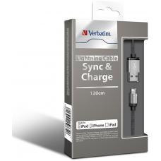 Verbatim Metallic Charge & Sync Lightning Cable - Silver 120cm or 1.2M 64531