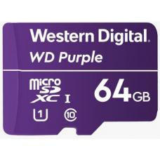 Western Digital WD Purple 64GB MicroSDXC Card 24/7 -25C to 85C Weather & Humidity Resistant for Surveillance IP Cameras mDVRs NVR Dash Cams Drones WDD064G1P0A