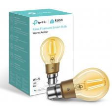 TP-Link KL60B Kasa Filament Smart Bulb, Warm Amber, Bayonet, Dimmable, No Hub Required, Voice Control, 2000K, 5kWh/1000h, 2.4 GHz, 2 Year Warranty KL60B