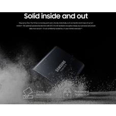 Samsung Portable SSD T5, 2TB, USB3.1 (Gen2) Type-C, Up to 10Gbps, Shock Resistant, 3 Years Warranty MU-PA2T0B/WW