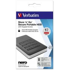 Verbatim Store 'n' Go Secure Portable HDD with Keypad Access 1TB - Black 53401