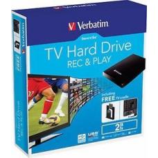 Verbatim 2TB 2.5' USB 3.0 Store'n'Go External HDD Hard Drive with Free TV Mounting Cradle 5Gbps Backup Software Connect to TVs with US Record & Play ( 53192.