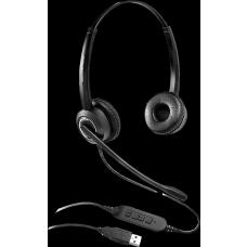 Grandstream GUV3000 Dual Ear USB Headset, Noise Canceling Microphone, HD Audio, 2m USB Cable, Suits Teams, Zoom, 3CX, Inline Controls GUV3000
