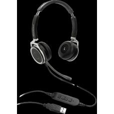 Grandstream GUV3005 Premium Dual Ear USB Headset, Busy Light, Noise Canceling Microphone, HD Audio, 2m USB Cable, Suits Teams, Zoom, 3CX GUV3005