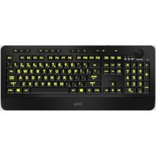 AZIO KB506 Large Print Five-Color Illuminating Ergonomic Wired USB Keyboard KB506