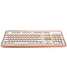AZIO RETRO CLASSIC BT Vintage Typewriter Bluetooth & USB Backlit Mechanical Keyboard - Alloy Leather Trim POSH - USB-C Charge/Dual Interface USB+BT MK-Retro-L-02B-US