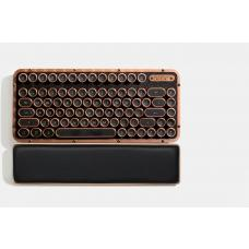 AZIO RETRO CLASSIC COMPACT Vintage Typewriter Bluetooth & USB Backlit Mechanical Keyboard - Alloy Leather Trim ARTISAN - USB-C Charge/Dual USB+BT MK-RCK-L-03-US